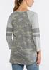 Plus Size Camo Stripe Sleeve Top alternate view