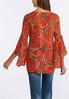 Plus Size Floral Paisley Bell Sleeve Top alternate view