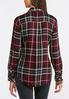 Plus Size Wine Plaid Button Down Shirt alternate view
