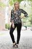 Plus Size Floral And Stripe Lace Inset Top alternate view