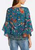 Plus Size Paisley Floral Bell Sleeve Top alternate view