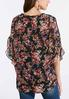 Plus Size Sheer Floral Ruffle Sleeve Top alternate view