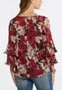 Plus Size Pleated Ruffled Sleeve Top alternate view