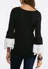 Plus Size Ruffles And Dots Ribbed Sweater alternate view