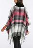 Brushed Plaid Cowl Neck Poncho alternate view