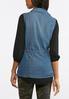 Plus Size Cinched Waist Denim Utility Vest alternate view