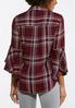 Plus Size Wine Plaid Bell Sleeve Shirt alternate view