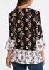 Plus Size Two- Toned Floral Poet Top alternate view
