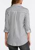 Plus Size Gray Striped Button Down Shirt alternate view