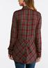 Plus Size Plaid Split Back Top alternate view