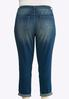 Plus Size Distressed Patchwork Ankle Jeans alternate view
