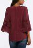 Plus Size Mesh Inset Bell Sleeve Top alternate view