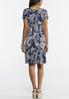 Seamed Navy Floral Puff Print Dress alternate view