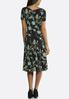 Seamed Green Floral Puff Print Dress alternate view