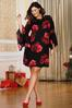 Plus Size Floral And Lace Swing Dress alternate view