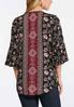 Plus Size Wine Floral Bell Sleeve Top alternate view