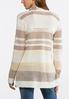Plus Size Beige Stripe Draped Cardigan alternate view