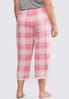 Plus Size Lace Trim Plaid Sleep Pants alternate view
