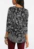 Plus Size Pleated Puff Print Top alternate view