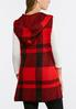 Plus Size Red Plaid Hooded Vest alternate view