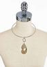 Glass Stone Wire Pendant Necklace alternate view