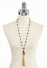 Mixed Pearl Beaded Tassel Necklace alternate view
