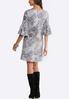 Plus Size Gray Puff Print Swing Dress alternate view