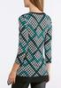 Plus Size Teal Houndstooth Layered Top alternate view