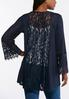 Plus Size Navy And Lace Hacci Cardigan alternate view
