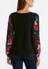 Plus Size Pleated Floral Sleeve Top alternate view