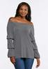 Plus Size Striped Bubble Sleeve Top alternate view