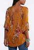 Plus Size Smocked Gold Floral Top alternate view