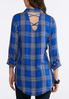 Plus Size Blue Plaid Top alternate view