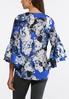 Plus Size Embellished Blue Floral Top alternate view