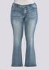 Plus Size Faded Embellished Jeans alternate view