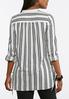 Plus Size Stripe Button Down Tunic alternate view