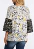 Plus Size Yellow Floral Bell Sleeve Top alternate view