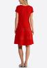 Plus Size Red Textured Fit And Flare Dress alternate view