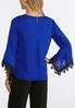 Contrast Lace Sleeve V- Neck Top alternate view