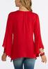 Plus Size Lace Bib Bell Sleeve Top alternate view