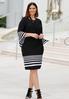 Plus Size Stripe Trim Midi Dress alternate view