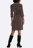 Plus Size Red And Black Stripe Shirt Dress alternate view