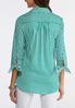 Plus Size Tie Sleeve Green Stripe Shirt alternate view