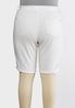Plus Size White Denim Bermuda Shorts alternate view