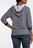 Plus Size Striped Navy Fleece Hoodie alternate view