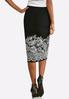 Plus Size Textured Floral Pencil Skirt alternate view