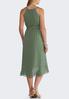 Plus Size Green Dotted Tie Waist Dress alternate view