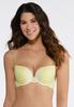 Plus Size Yellow Gray Lace Trim Bra Set alternate view