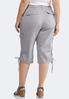 Plus Size Cropped Tie Hem Cargo Pants alternate view