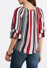 Plus Size Ruffled Stripe Tie Front Top alternate view